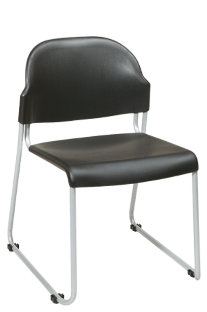 2 Stacking Chairs with Plastic Seat and Back