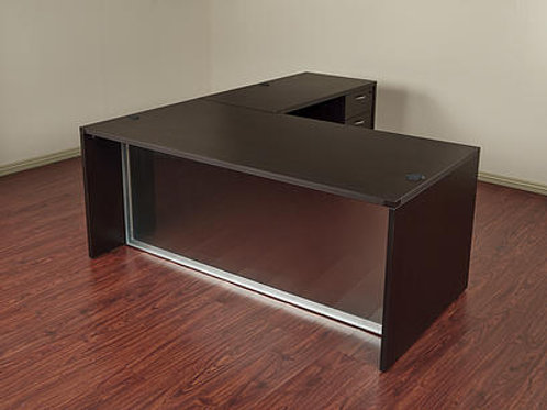 L Shape Desk with Glass Modesty Panel