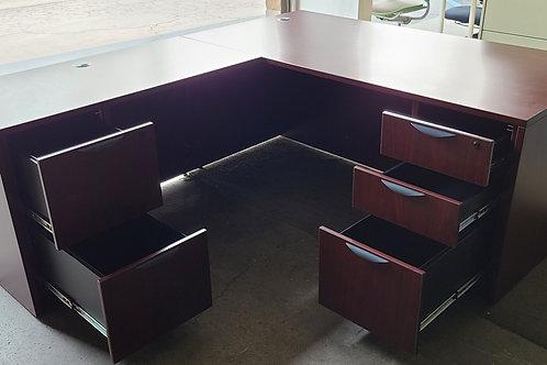 Used Mahogany L Shape Desks