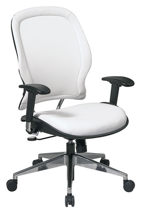 White Vinyl Managers Chair w/ Polished Aluminum