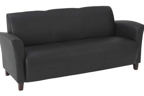 Bonded Leather Sofa with Cherry Finish Legs