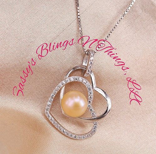 *Double Heart Pearl Necklace