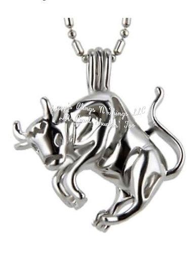 """*Zodiac Taurus Cage Pendant w/18""""Chain (SP)"""
