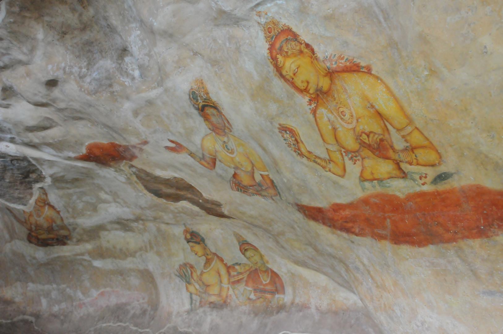 Sigiriya frescos. 477 to 495 AD