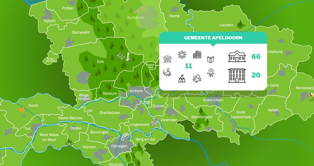 Een schermopname van een infographic van Gelderland. Een groene kaart met daarin de verschillende gemeentes. Een pop-up scherm met daarin informatie over de activiteiten in de gemeente.