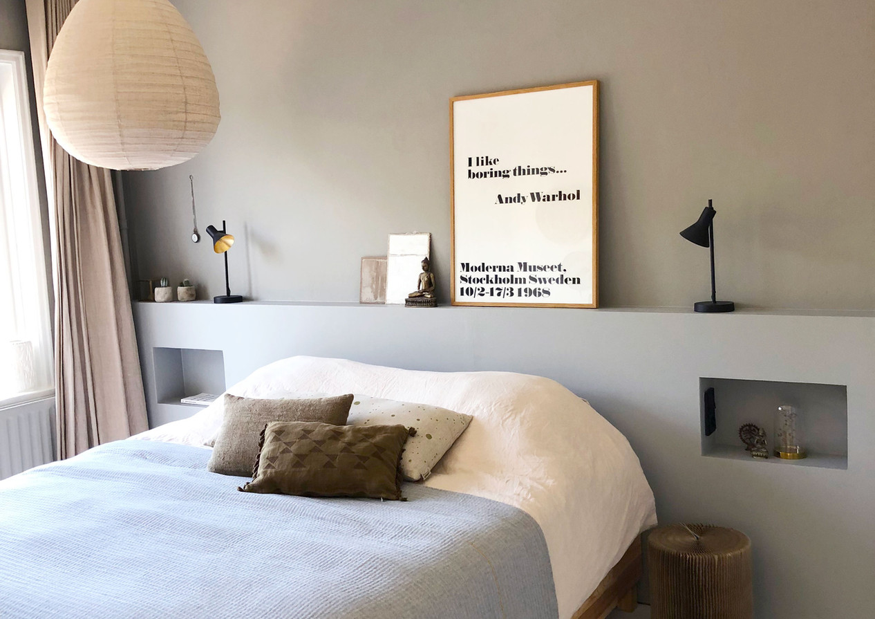 slaapkamer bed met hoofdbord interieur s