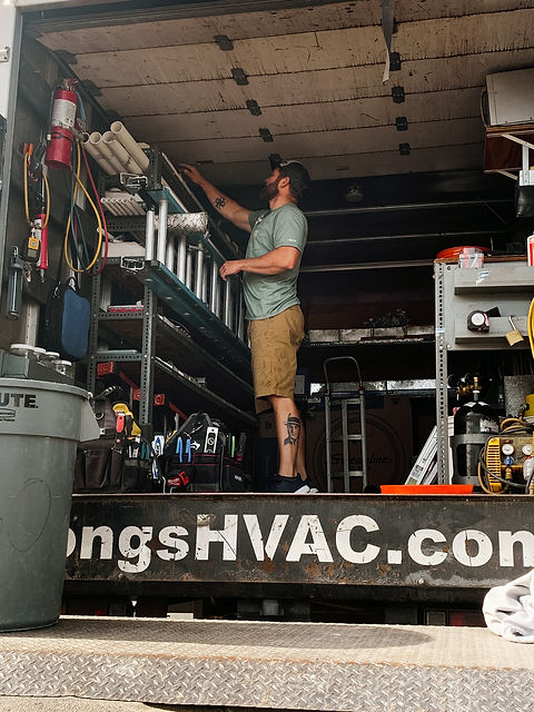 Our installer Josh loading up the install truck.
