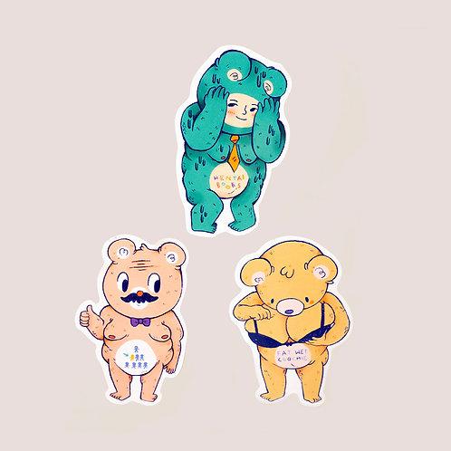Hentai Boobs Bear Sticker Set