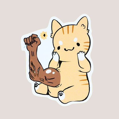 Cat With Arm Sticker