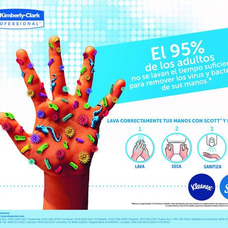 Lavado correctamente de las manos con Scott y Kleenex #kcp