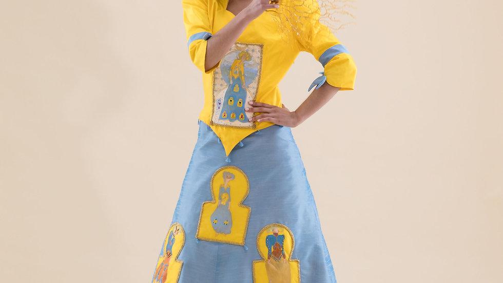 Yellow in a Blue Moon maxi silk dress
