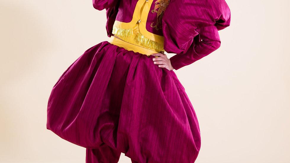 Saphanbal'al hand-painted & beaded silk ensemble