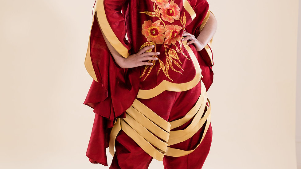 The Wonder of Sofines  hand-painted silk ensemble