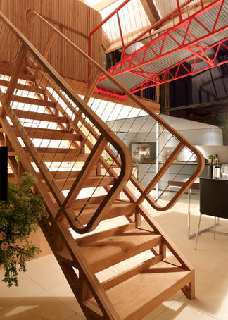 Bespoke oak staircase and bridge made by Ben Huggins