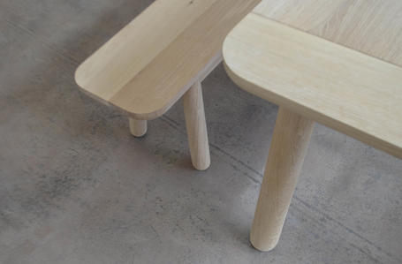 Detail of bespoke oak table and benches designed in Exeter, Devon