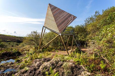 Eco glamping pod in wild landscape