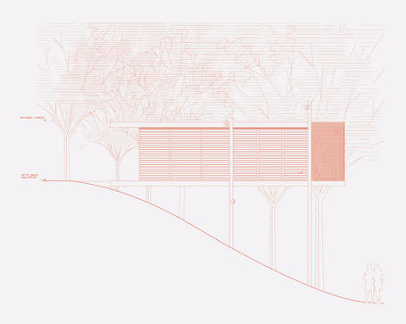 Drawing of hillside house in woodlands