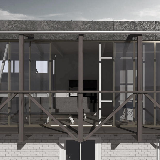 Architectural balcony with view of the South Cornwall coast