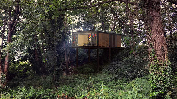 Steel frame treehouse designed by architects