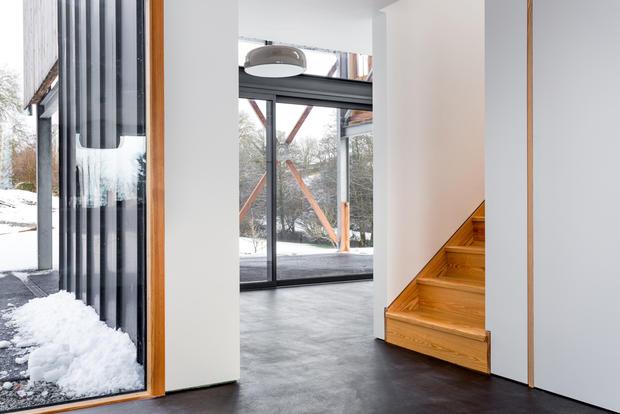 Double height modern barn interior