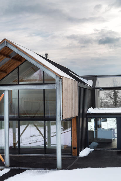 Steel and glass modern barn
