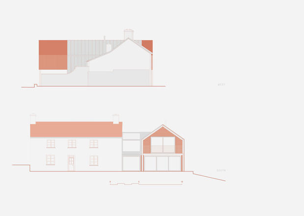 Elevation drawing of Batelease Farm