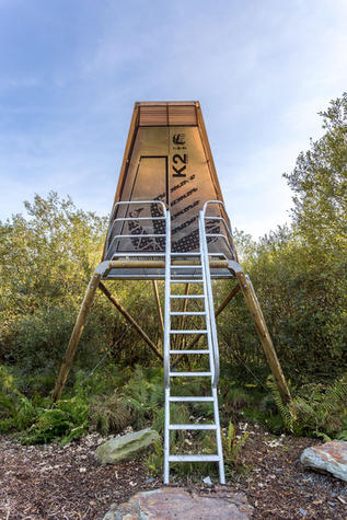 Metal and timber bespoke structure in Cornish Quarry