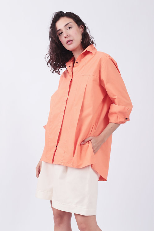 Camisa Eugênia Tricoline Coral