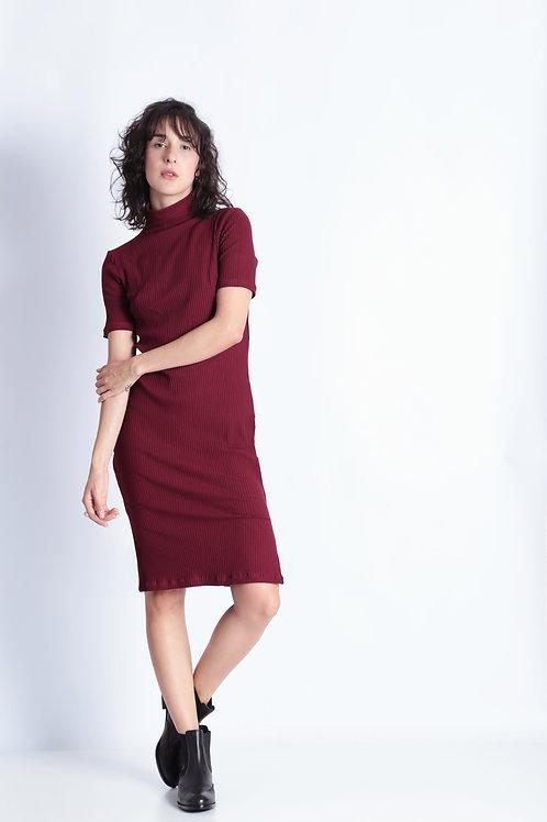 Vestido Bardot Costine Vinho