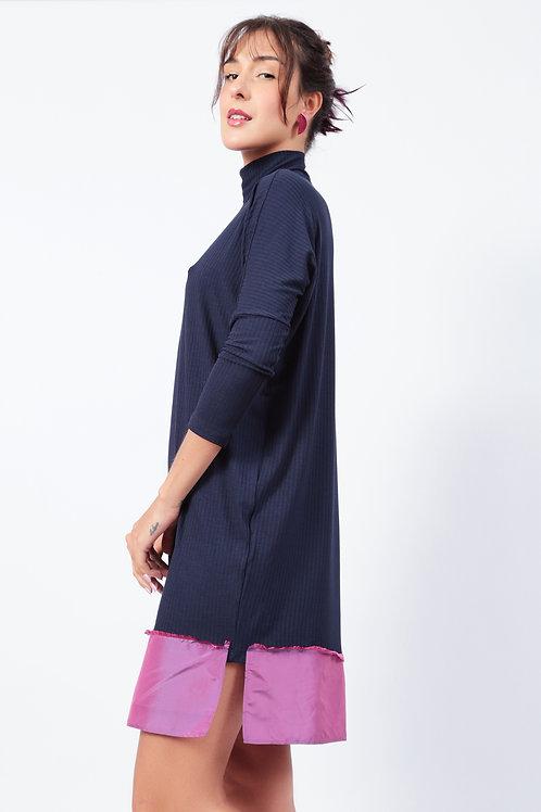 Vestido Dhasadi Marinho Barra Tafetá