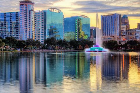 Skyline of Orlando, Florida from lake Eo