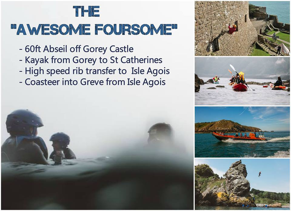 Awesome Foursome, Jersey, Jersey Adventures, Activities in Jersey, Family holiday in Jersey, Kayaking, SUP