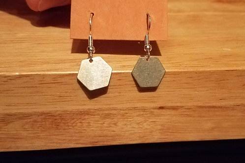 Antiqued Silver Hexagon Earrings