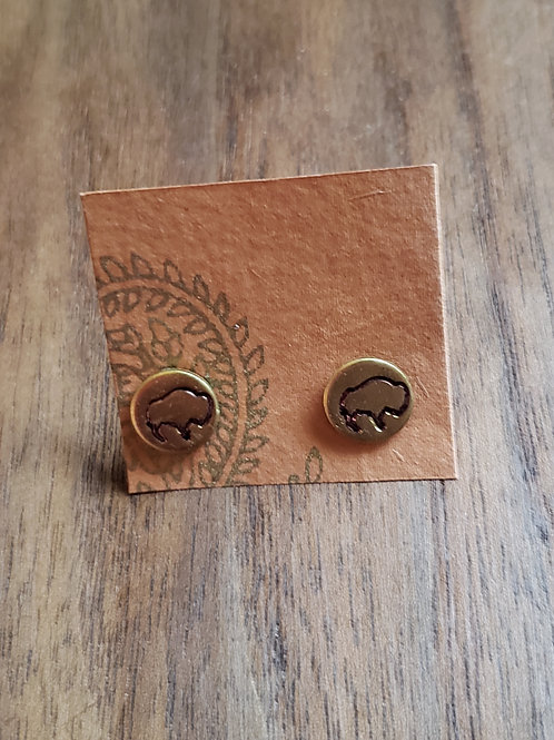 Buffalo Stamped Gold Circle Earrings