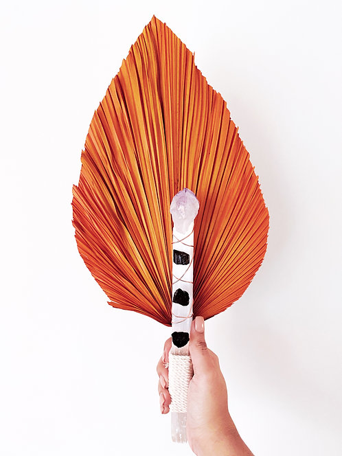 Selenite Clearing Wand & Smudging Fan