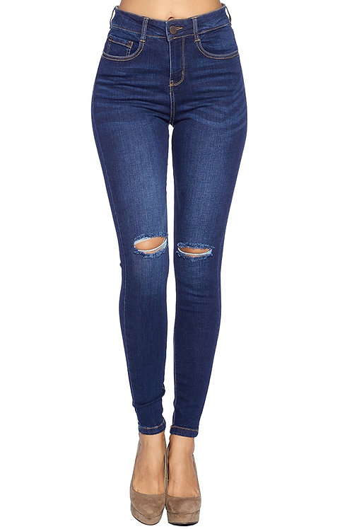 Dark Wash Distressed High Waisted Skinny Jeans