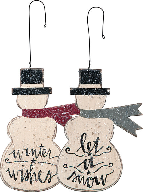 Set of 2 Wooden Snowman Ornaments