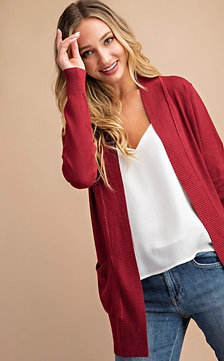 Open Front Knit Longline Pocket Cardigan