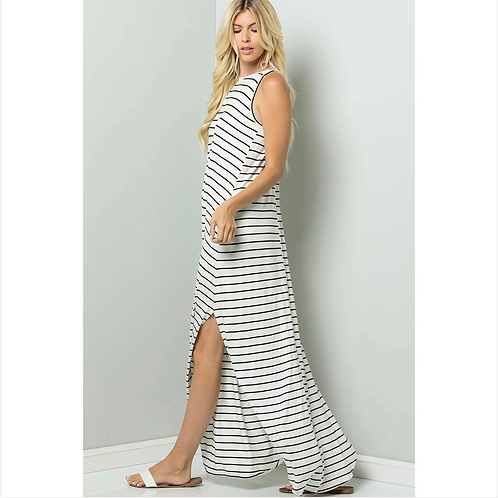 Stripe Cami Maxi Jersey Dress
