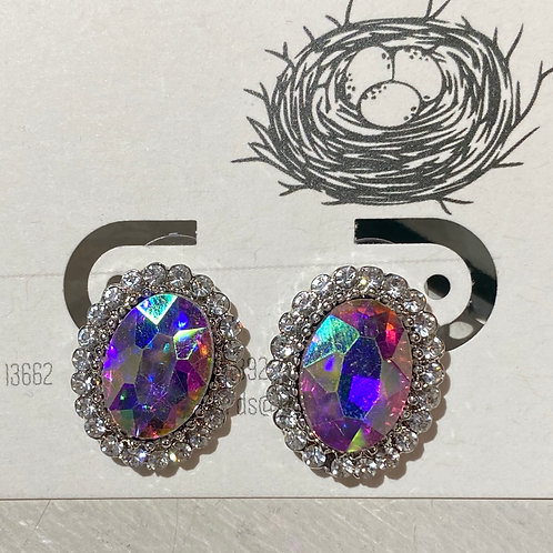 Iridescent quartz post earrings