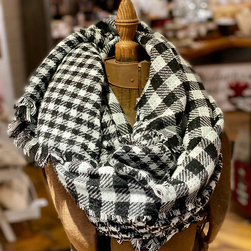 Black n White Buffalo Plaid Blanket Scarf