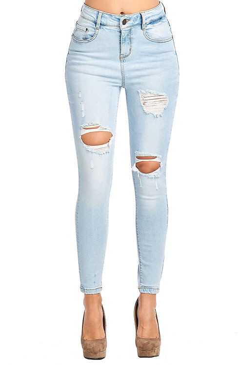 Light Wash Distressed High Waisted Skinny Jeans