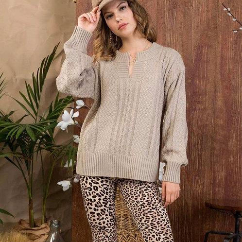 Round Neck Keyhole Sweater