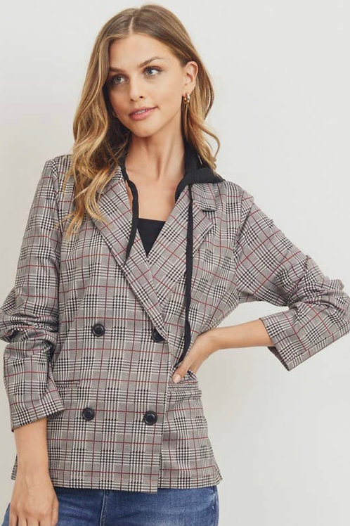 Hooded Plaid Blazer