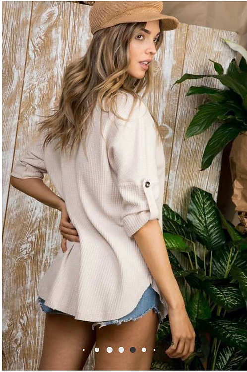 Button Down Rolled Sleeve Top in baby blue