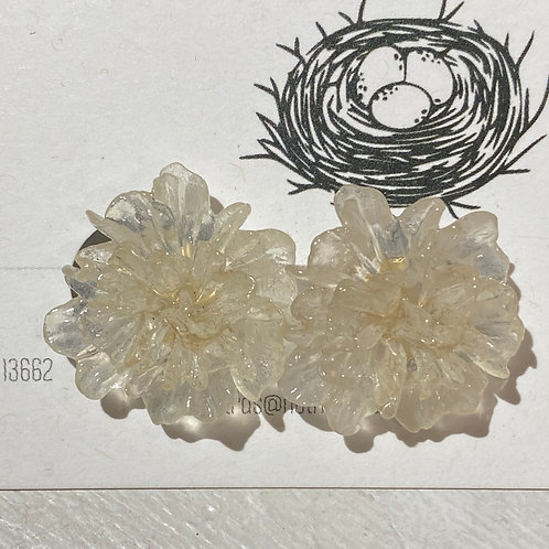 Glass Flower post earrings