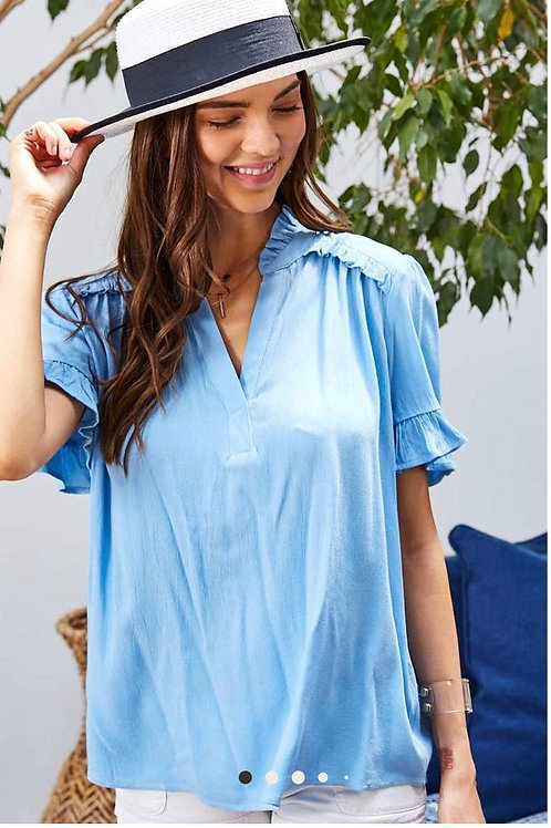 Ruffled Notched Neck Top