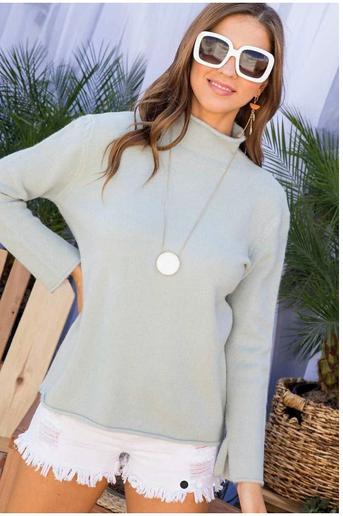 Mock Neck Long Sleeve Solid Sweater