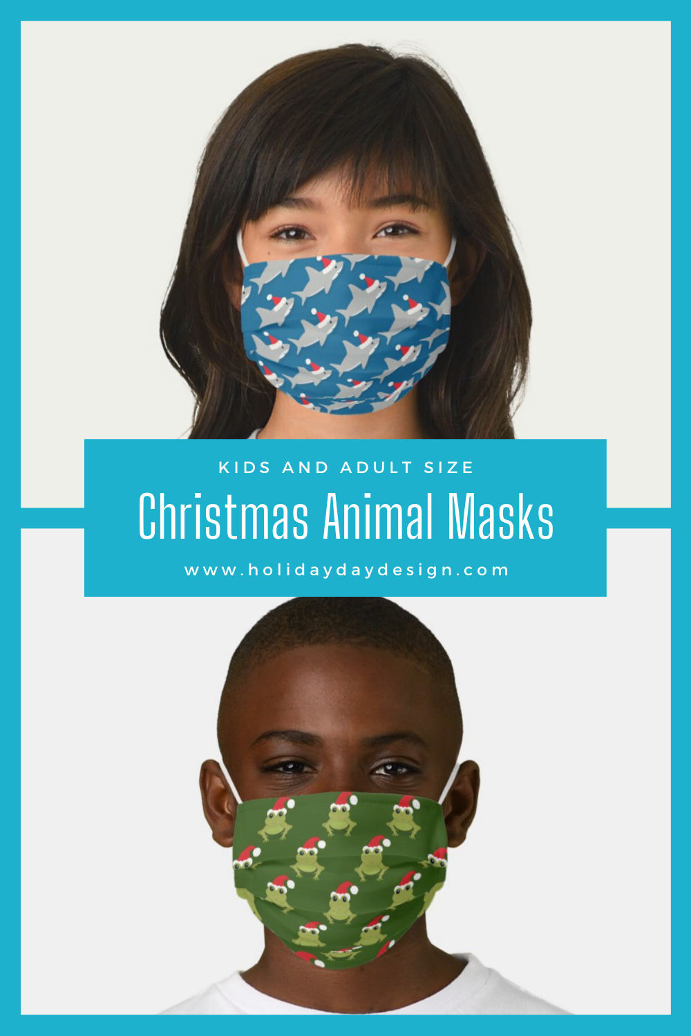Kids and adult size Christmas animal face masks for sale