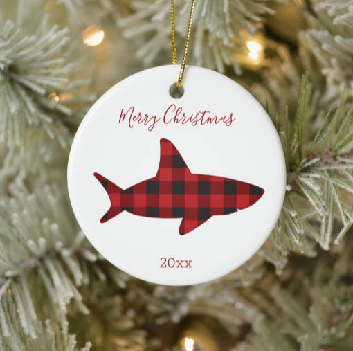shark ornament, merry christmas, red plaid, year ornament, novelty christmas ornament, customizable Christmas ornament, christmas ornament with year, animal xmas ornament,